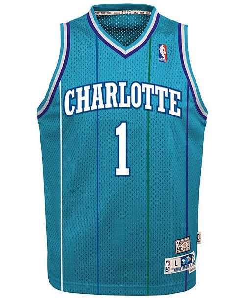 brand new 29a1f 85267 Muggsy Bogues Charlotte Hornets Retired Player Swingman Jersey, Big Boys  (8-20)