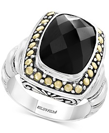 Eclipse by EFFY® Onyx (14 x 10mm) Ring in Sterling Silver & 18k Gold
