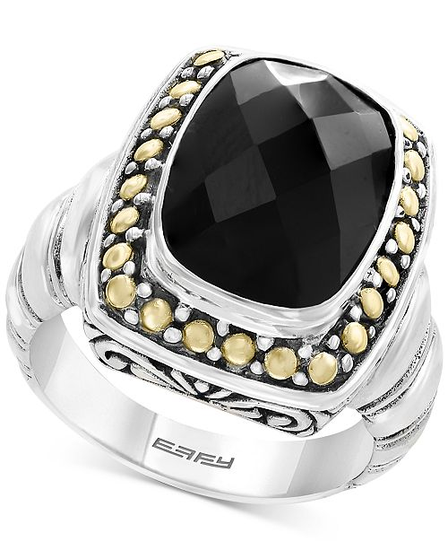 EFFY Collection Eclipse by EFFY® Onyx (14 x 10mm) Ring in Sterling Silver & 18k Gold