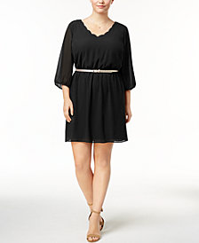 BCX Trendy Plus Size Belted A-Line Dress