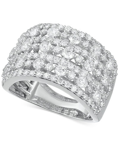Diamond Multi-Row Wide Statement Ring (2 ct. t.w.) in 14k White Gold