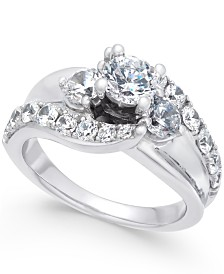 Diamond Wide Band Engagement Ring (2 ct. t.w.) in 14k White Gold