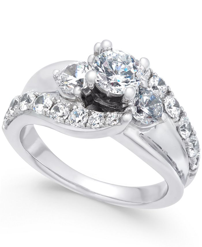 Macy's - Diamond Wide Band Engagement Ring (2 ct. t.w.) in 14k White Gold