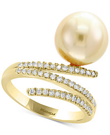 Pearl by EFFY® Cultured South Sea Pearl (11mm) & Diamond (1/5 ct. t.w.) Ring in 14k Gold