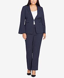 Tahari ASL Plus Size Pinstriped Pantsuit