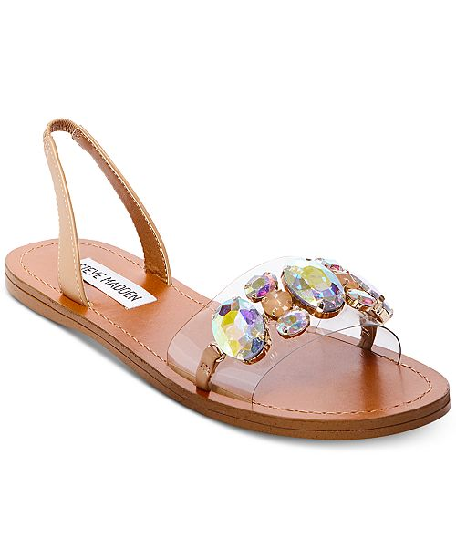 e92c56fbd Steve Madden Women s Alice Embellished Flat Sandals   Reviews ...