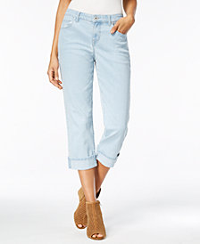 Style & Co Petite Cuffed Curvy Capri Jeans, Created for Macy's