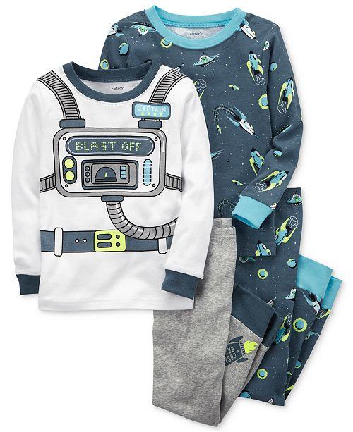 a0419002fc Carter's 4-Pc. Astronaut-Print Cotton Pajama Set, Baby Boys ...