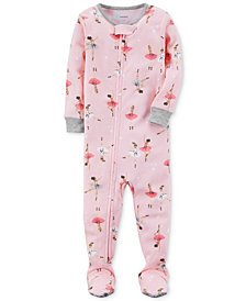 Carter's Ballerina-Print Footed Cotton Pajamas, Baby Girls