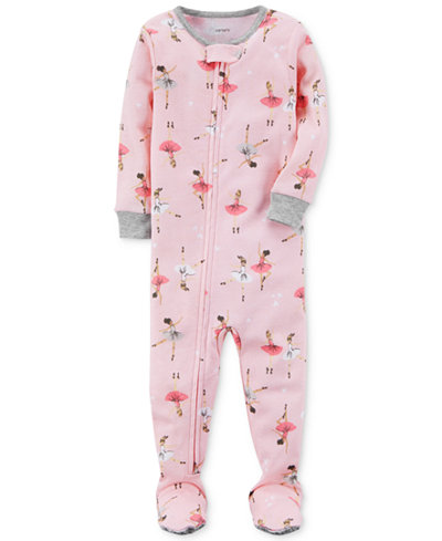 Carter's Ballerina-Print Footed Cotton Pajamas, Baby Girls