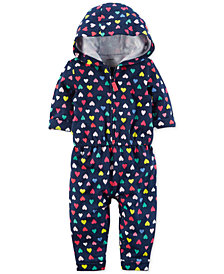 Carter's Hooded Heart-Print Cotton Jumpsuit, Baby Girls