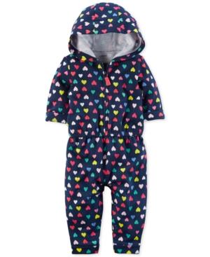 Carters Hooded HeartPrint Cotton Jumpsuit Baby Girls (024 months)