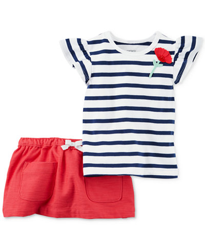 Carter's 2-Pc. Navy Stripe Poppy Top & Skort Set, Baby Girls