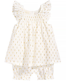 First Impressions Metallic Dot-Print Romper, Baby Girls