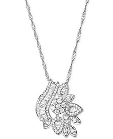 Cubic Zirconia Fancy Cluster Pendant Necklace in Sterling Silver