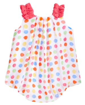 First Impressions DotPrint Chiffon Bubble Romper Baby Girls Created for Macys
