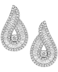 Cubic Zirconia Baguette Swirl Drop Earrings in Sterling Silver