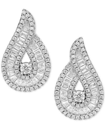 Cubic Zirconia Baguette Swirl Drop Earrings in Sterling Silver