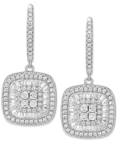 Cubic Zirconia Baguette Square Halo Drop Earrings in Sterling Silver