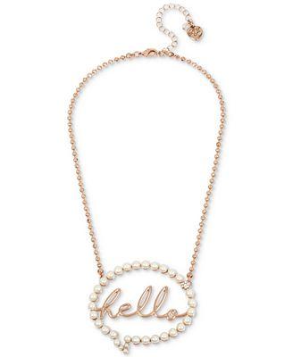 Betsey Johnson Rose Gold-Tone Pavé & Imitation Pearl Hello Bubble Pendant Necklace
