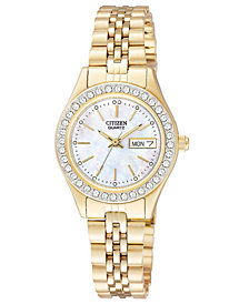 Citizen Women's Gold-Tone Stainless Steel Bracelet Watch 26mm EQ0532-55D
