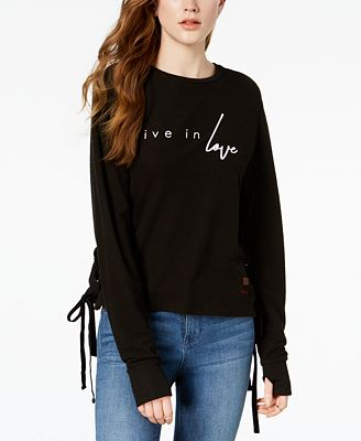 Peace Love World Graphic Lace Up Sweatshirt