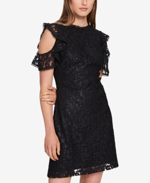 Cold Shoulder Glitter Lace Dress Created For Macys In Black