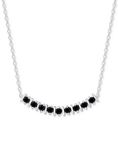 Black Spinel Curved Bar Collar Necklace in Sterling Silver