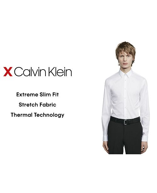 92a356d0274b ... Calvin Klein X Men's Extra-Slim Fit Thermal Stretch Performance Solid Dress  Shirt ...