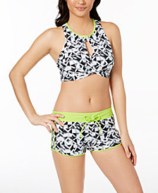 GO by Gossip Geo Graphic Content High-Neck Keyhole Bikini Top & Swim Shorts
