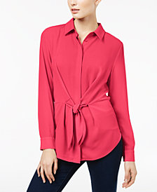 I.N.C. Tie-Front Shirt, Created for Macy's