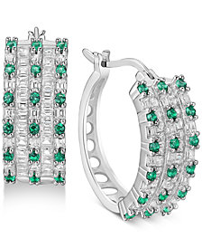 Cubic Zirconia Small Huggie Hoop Earrings in Sterling Silver