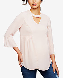 Daniel Rainn Maternity Keyhole Ruffled Blouse