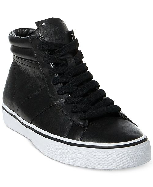 07372a70195 ... Polo Ralph Lauren Men s Shaw Leather High-Top Sneakers ...