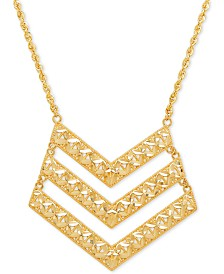 Textured Chevron Pendant Necklace in 14k Gold