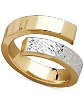 Two-Tone Bypass Ring in 14k Gold & Rhodium-Plate