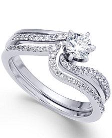 Diamond Swirl Interlocking Bridal Set (5/8 ct. t.w.) in 14k White Gold
