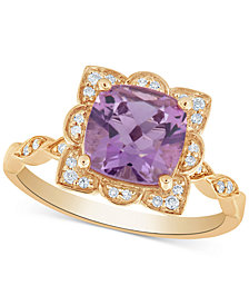 Amethyst (2 ct. t.w.) & Diamond (1/10 ct. t.w.) Ring in 14k Gold