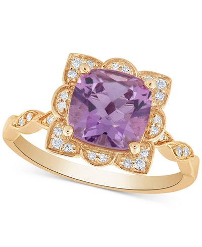 Amethyst (2 ct. t.w.) & Diamond (1/10 ct. t.w.) Ring in 14k Gold