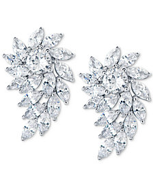Arabella Swarovski Zirconia Crystal Cluster Drop Earrings in Sterling Silver