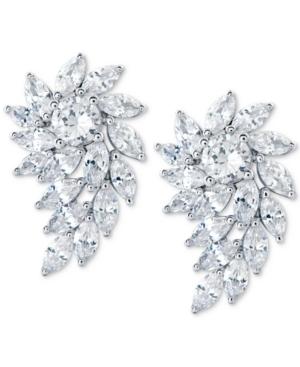 Cubic Zirconia Crystal Cluster Drop Earrings in Sterling Silver