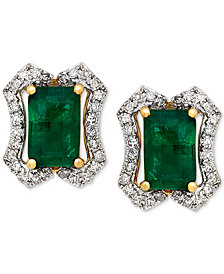 Emerald (1-1/5 ct. t.w.) & Diamond (1/6 ct. t.w.) Stud Earrings (3/8 ct. t.w.) in 14k Gold