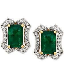 Emerald (1-1/5 ct. t.w.) & Diamond (1/6 ct. t.w.) Stud Earrings (3/8 ct. t.w.) in 14k Gold