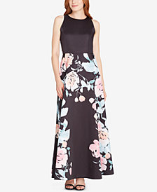 Tahari ASL Bow-Back Floral & Solid Gown