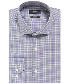 BOSS Men's Regular/Classic-Fit Plaid Cotton Traveler Dress Shirt