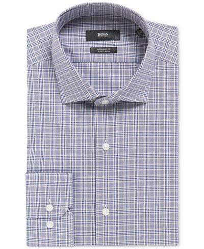 BOSS Men's Regular/Classic-Fit Plaid Cotton Traveler Dress Shirt