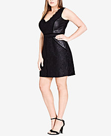 City Chic Trendy Plus Size Faux-Leather & Lace Mini Dress