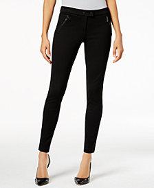 Alfani Ponté-Knit Zip-Pocket Skinny Pants, Created for Macy's