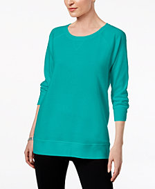 Karen Scott Petite 3/4-Sleeve Sweatshirt, Created for Macy's