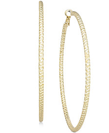 Thalia Sodi Large Textured Hoop Earrings, Created for Macy's